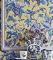 Woodvale-Orchard,-col.-7-Blumen-Tiere-Blätter-Vögel-Äste-Früchte-Fauna-Blau-Lila-Gelb