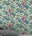 Woodvale-Orchard,-col.-8-Blumen-Tiere-Blätter-Vögel-Äste-Früchte-Fauna-Rot-Grün-Blau-Creme