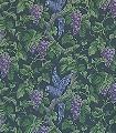 Woodvale-Orchard,-col.-9-Blumen-Tiere-Blätter-Vögel-Äste-Früchte-Fauna-Grün-Blau-Lila-Anthrazit