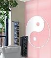 Ying---Yang-Banner,-hinoto-Kreise-Ornamente-Moderne-Muster-FotoTapeten-Rosa-Weiß