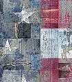 flags,-col.01-Patchwork-Stoff-Sterne-Fototapeten-Collage-Fahne-Jeans-Moderne-Muster-FotoTapeten-Rot-Blau-Grau-Weiß