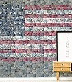 flags,-col.01-Patchwork-Stoff-Sterne-Fototapeten-Collage-Fahne-Jeans-Moderne-Muster-FotoTapeten-Rot-Blau-Grau-Weiß