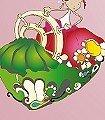 Elfenkind-Motiv,-flieder-Blumen-Figuren-KinderTapeten