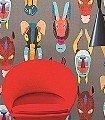 Marabout-Multicolore-Tiere-Fauna-Moderne-Muster-Multicolor