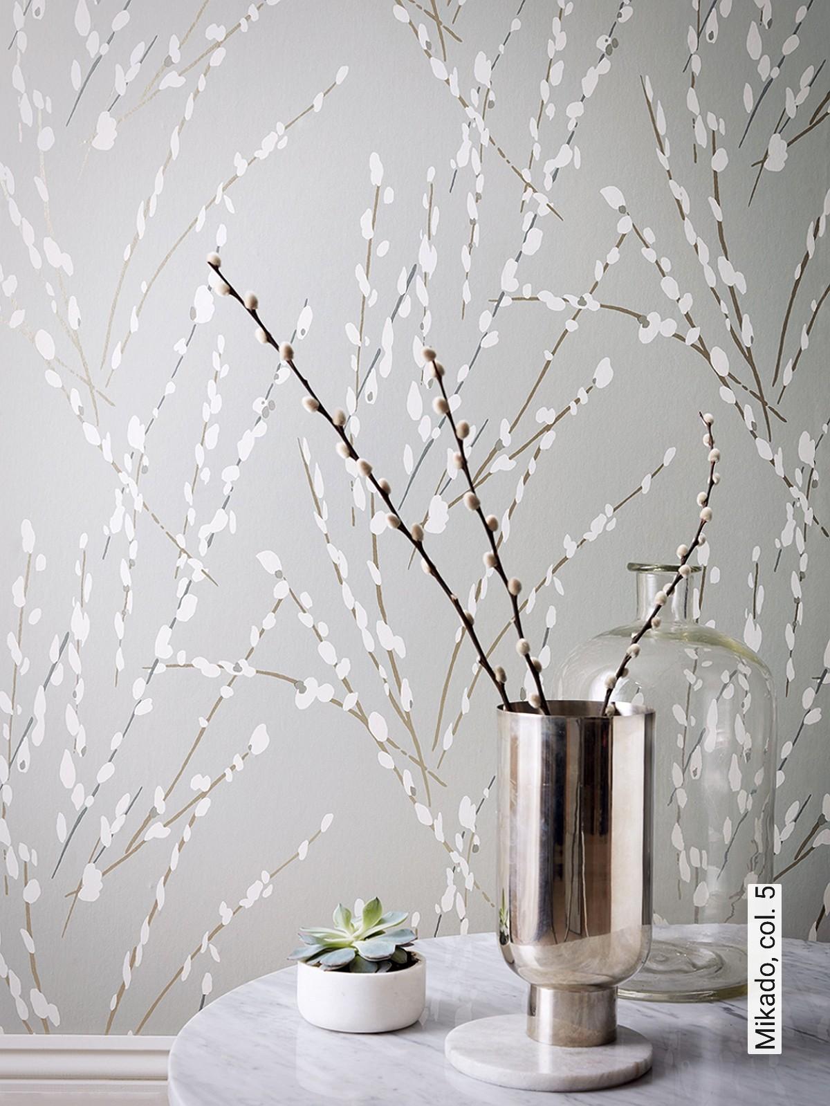 Moderne Tapete Dolce In Grau Und Silber Im Floralen Look 10