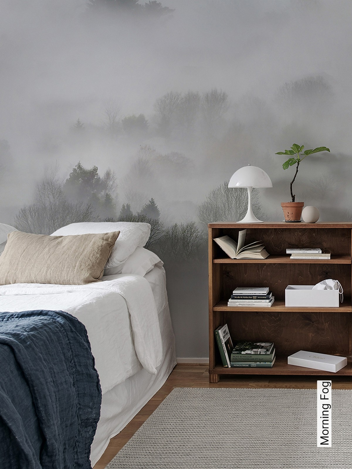 Morning Fog Bäume Landschaft FotoTapeten Anthrazit