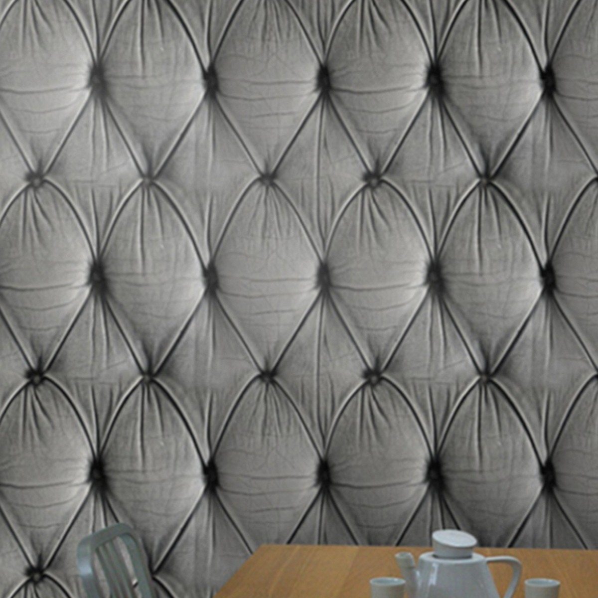 tapete chesterfield button back grey die tapetenagentur. Black Bedroom Furniture Sets. Home Design Ideas
