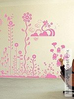 Walltatoo: Mushroom forest Pink