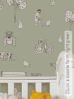 Tapete: Cluck a doodle farm, light green