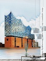 Tapete: Hamburg Elbphilharmonie - Harbor Waves - Ingo Krasenbrink Design