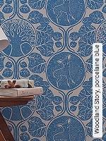 Tapeten  - Camilla Meijer Woodland Story, porcelaine blue