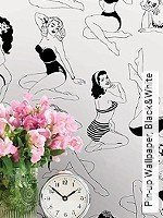 Tapete  - Dupenny Pin-up Wallpaper, Black&White