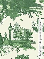 Tapeten  - Timorous Beasties London Toile, greens on cream
