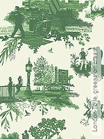 Tapete: London Toile, greens on cream