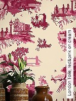 Tapeten  - Timorous Beasties London Toile, red&pink on cream
