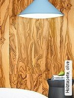 Tapete  - offenes Vlies Holztapete, olive