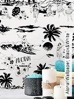 Tapete  - Zeichnungen - moderne Tapeten Aloha! Wallpaper, Black&White