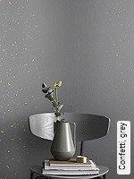 Tapete  - Sehr gute Lichtbeständigkeit - NEUE Tapeten Confetti, grey