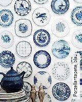 Tapete  - Ethno und Folklore Porzellantapete, blau