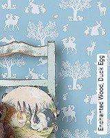 Tapete  - Animal Print Enchanted Wood, Duck Egg