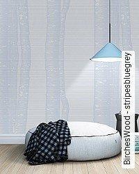 Tapete: BirchesWood - stripesbluegrey
