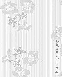 Tapete: Hibiscus, white grey