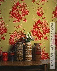 Tapete: Decouper Toile 3, red on gold