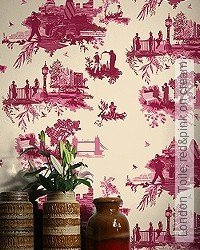 Tapete: London Toile, red&pink on cream