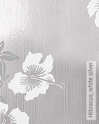 Tapete: Hibiscus, white silver