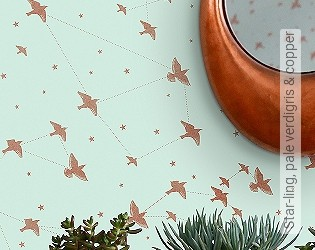 Bild Tapete - Star-ling, pale verdigris & copper