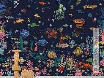 Tapete: Sous La Mer, navy blue