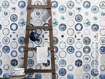 Tapete: Porzellantapete, blau