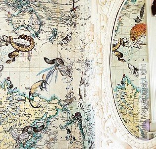 Bild Tapete - World Map Animal, Light