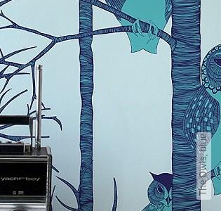 Bild Tapete - The Owls, blue
