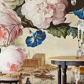 Preis:530,00 EUR - Kollektion(en): - Braun - FotoTapete - EN15102/EN13501.B-s1 d0 - Figuren - Creme - Blumen - Florale Muster