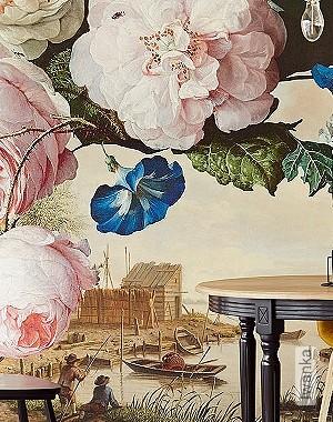 Preis:530,00 EUR - Kollektion(en): - Braun - FotoTapete - EN15102/EN13501.B-s1 d0 - Figuren - Creme - Blumen - Wohnzimmer