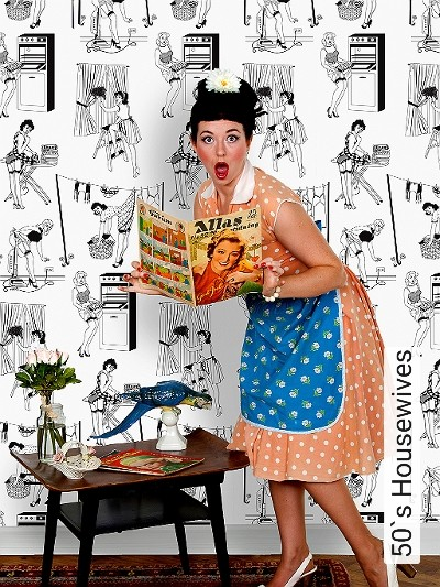 50`s-Housewives-Figuren-Schwarz-Weiß