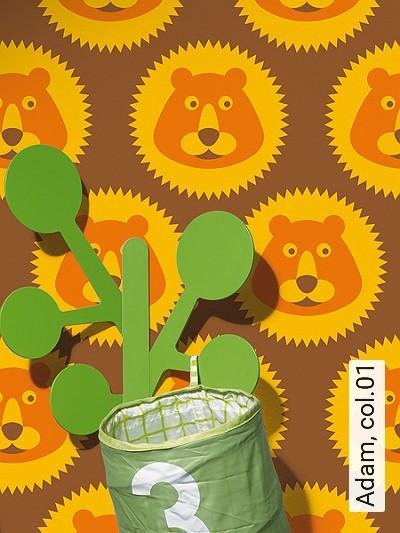 Adam,-col.01-Tiere-KinderTapeten-Gold-Braun-Orange
