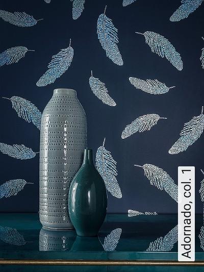Adornado,-col.-1-Federn-Moderne-Muster-Grün-Blau-Silber