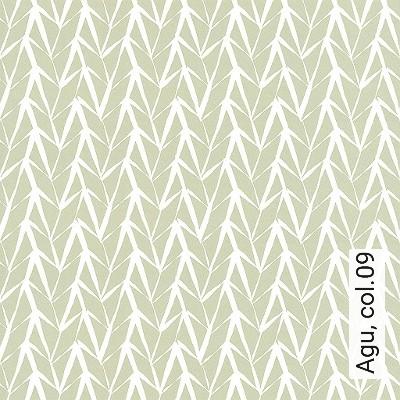 Agu,-col.09-Blätter-Schemen/Silhouetten-Moderne-Muster-Hellgrün-Weiß