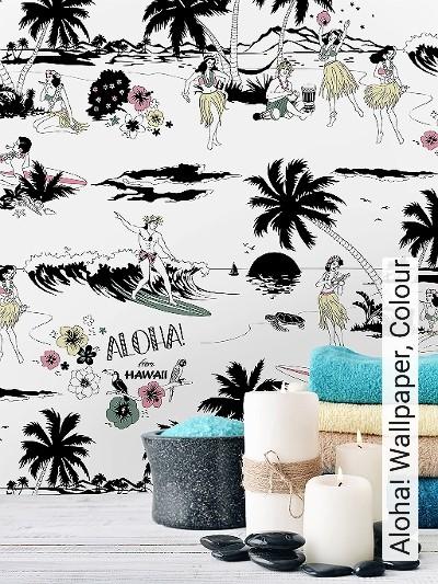 Aloha!-Wallpaper,-Colour-Bäume-Figuren-Zeichnungen-Moderne-Muster-Schwarz-Weiß-Multicolor-Schwarz-und-Weiß