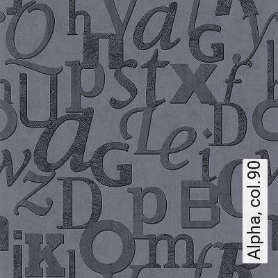 Alpha,-col.90-Buchstaben-Text-Patina-Moderne-Muster-Anthrazit-Schwarz