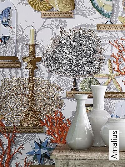 Amalius-Unterwasserwelt-Nautic-Schmetterlinge-Moderne-Muster-Grau-Weiß-Multicolor
