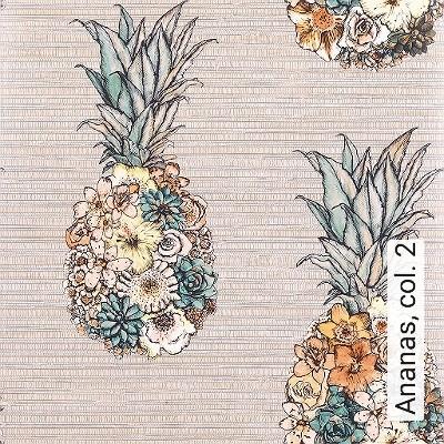 Ananas,-col.-2-Blumen-Obst-Florale-Muster-Multicolor