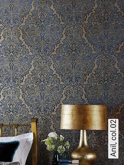 Anil,-col.02-Ornamente-Patina-Orientalisch-Orientalisch-Blau-Gold