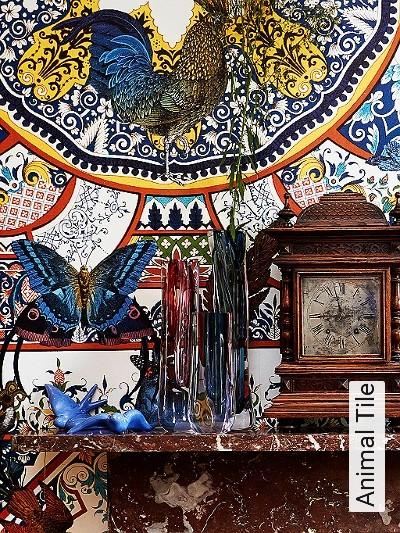 Animal-Tile-Kreise-Ornamente-Tiere-Fauna-Florale-Muster-Weiß-Multicolor