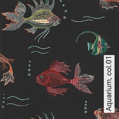 Aquarium,-col.01-Fische-Fauna-Moderne-Muster-Multicolor