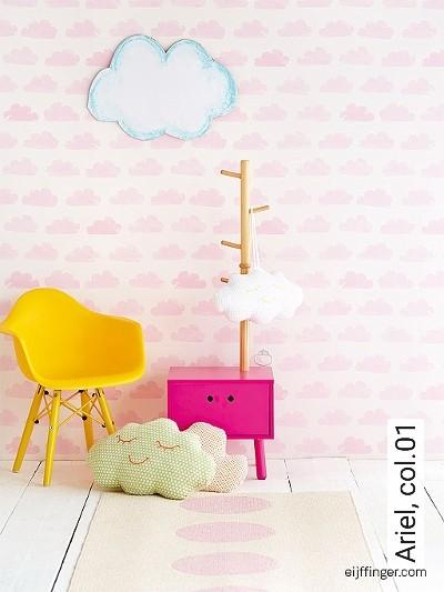 Ariel,-col.01-Wolken-KinderTapeten-Rosa