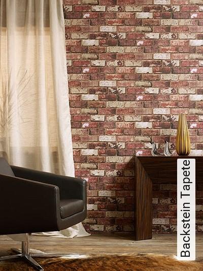 Backstein-Tapete-Stein-Imitat-Backstein-Moderne-Muster-Rot-Braun-Weiß-Creme