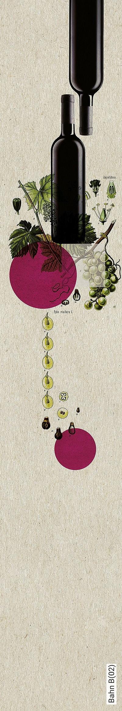 Bahn-B(02)-Flaschen-Früchte-Moderne-Muster-Schwarz-Creme-Pink